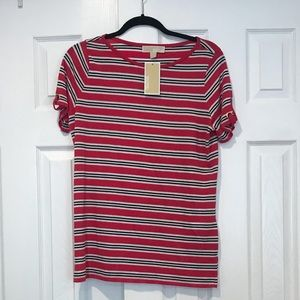 NWT Michale Kors Womens Pink Striped Tee Shirt